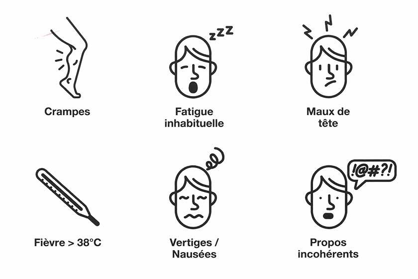 Symptômes de déshydratation : Crampes ; Fatigue inhabituelle ; Maux de tête ; Fièvre (>38°C) ; Vertiges, nausées ; Propos incohérents
