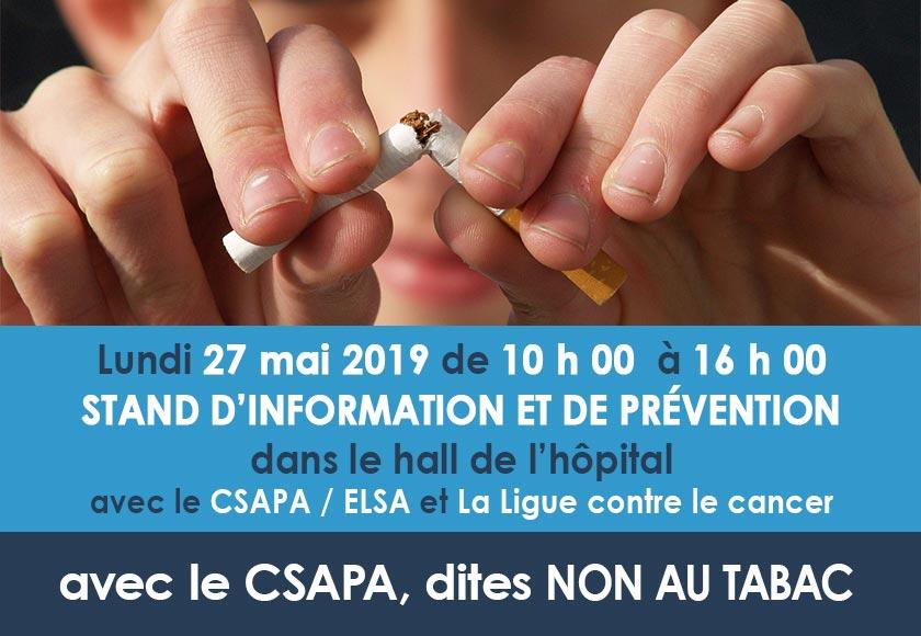 Journée sans tabac : 27 mai 2019 de 10h00 à 16h00 dans le hall de l'hôpital.