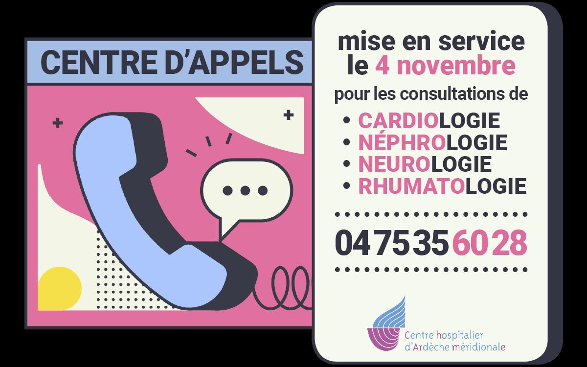 centre d'appels - RDV cardio, néphro, neuro, rhumato - 04 75 35 60 28