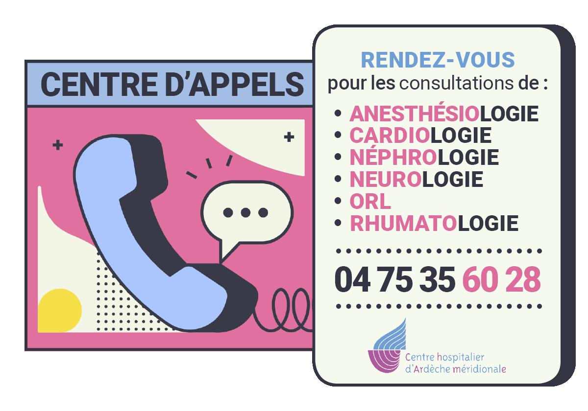 Centre d'appels des consultations externes : 04 75 35 60 28