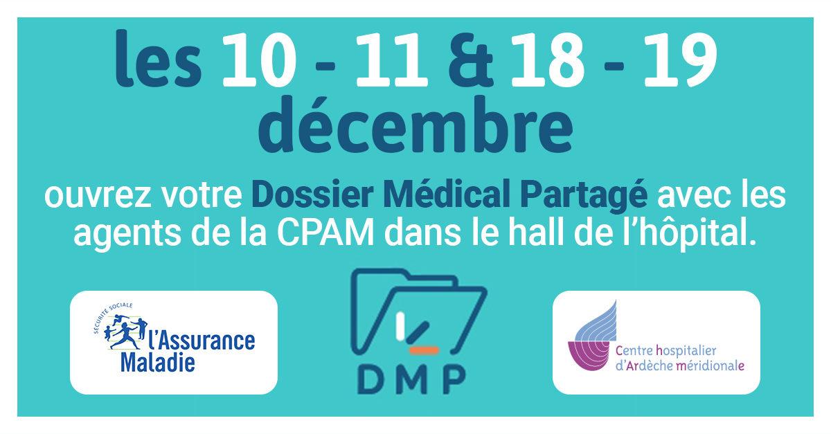 ouvrez votre dossier médical partagé les 10,11,18 et 19 décembre au centre hospitalier.